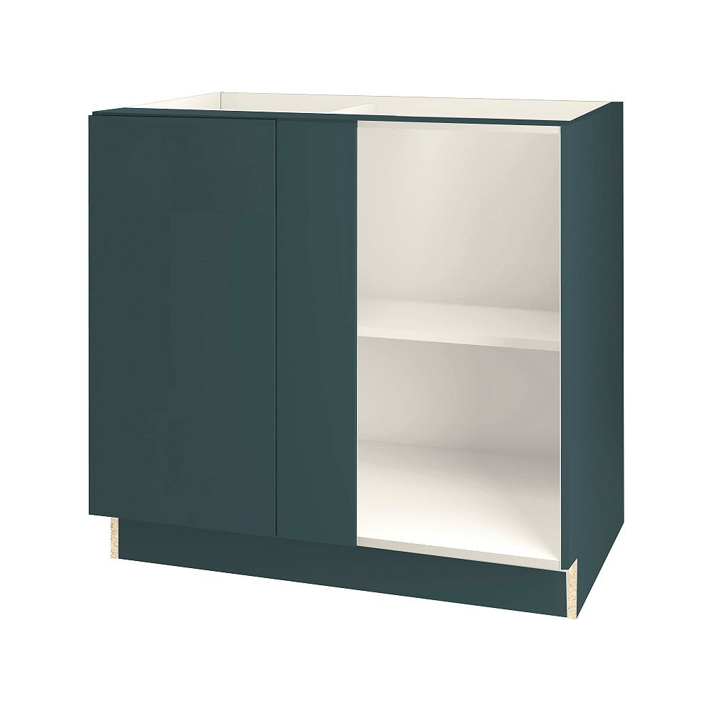 Thomasville Nouveau Cavette 36-inch W x 34.6-inch H x 24-inch D Assembled Kitchen Corner Blind Base Cabinet/Cupboard in Lagoon Blue with Adjustable Shelf (BCL3615FH)