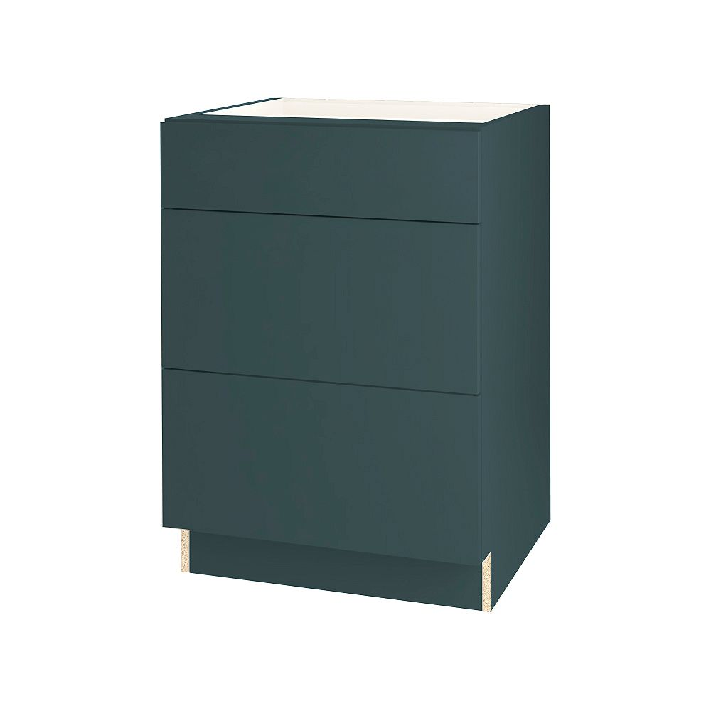 Thomasville NOUVEAU Cavette Lagoon Assembled Three Drawer Base Cabinet 24 inches Wide