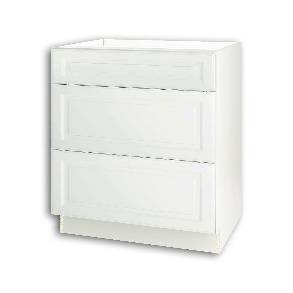 Thomasville Nouveau Newton 30-inch W x 34.6-inch H x 24-inch D Assembled Kitchen Base Cabinet/Cupboard in Lilly Solid White with 3 Soft Close Drawers (BD303V)