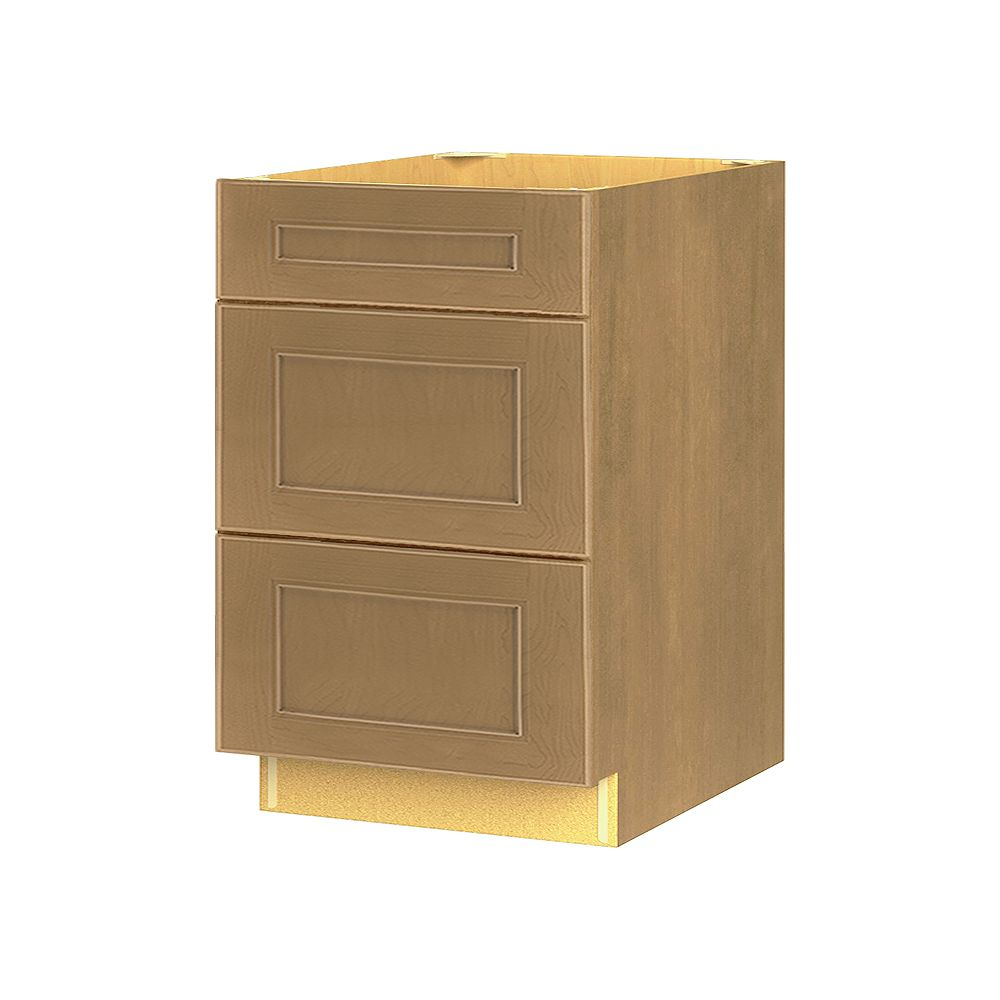 Thomasville Nouveau NOUVEAU Rhodes Tumbleweed Assembled Three Drawer Base Cabinet 24 inches Wide