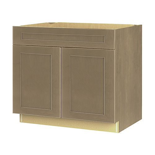 Rhodes 36-inch W x 34.6-inch H x 24-inch D Shaker Style Assembled Kitchen Sink Base Cabinet/Cupboard in Pebble Taupe Grey (BS36)
