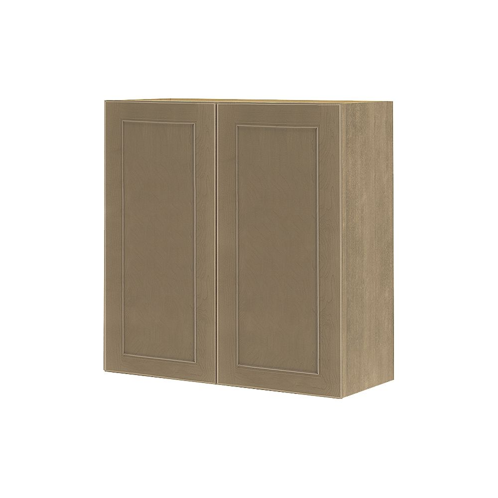 Thomasville Nouveau Rhodes 30-inch W x 30-inch H x 11.75-inch D Shaker Style Assembled Kitchen Wall Cabinet/Cupboard in Pebble Taupe Grey with Adjustable Shelves (W3030)
