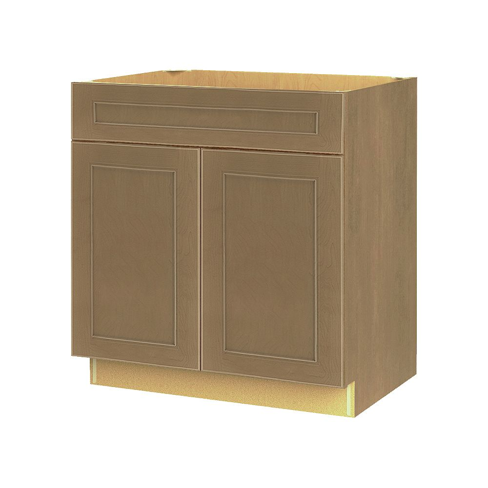 Thomasville Nouveau Rhodes 30-inch W x 34.6-inch H x 24-inch D Shaker Style Assembled Kitchen Base Cabinet/Cupboard in Wrangler Dark Tan with Adjustable Shelf/Soft Close Drawer (B30FWD)
