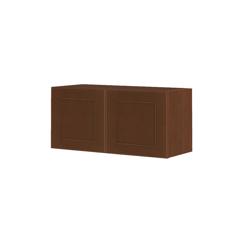 Thomasville Nouveau Rhodes 30-inch W x 13.5-inch H x 11.75-inch D Shaker Style Assembled Kitchen Wall Cabinet/Cupboard in Raisin Chocolate Brown (W3013.5)