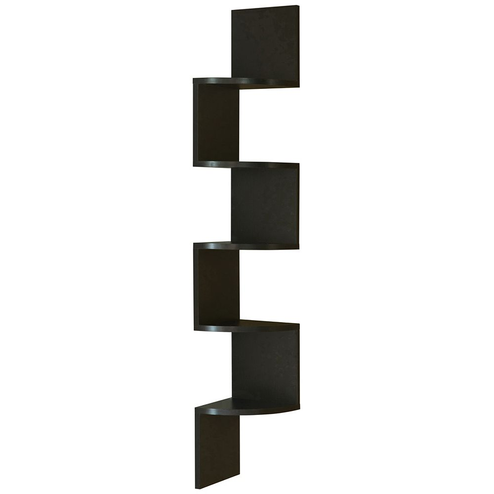 Basicwise 5 Tier Wall Mount Corner Shelf, Black