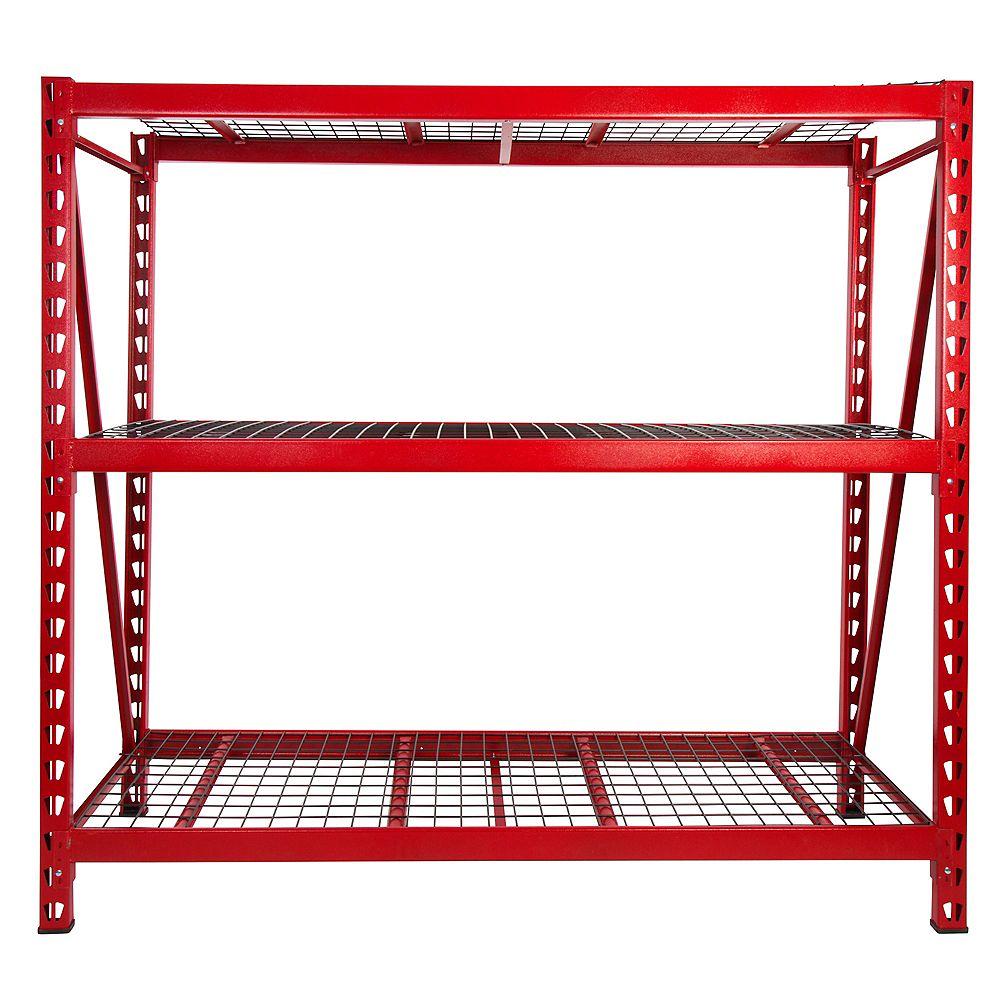 Steelman Red 3-Tier Steel Garage Rack Storage Shelving Unit (77 in. W x 72 in. H x 24 in. D)