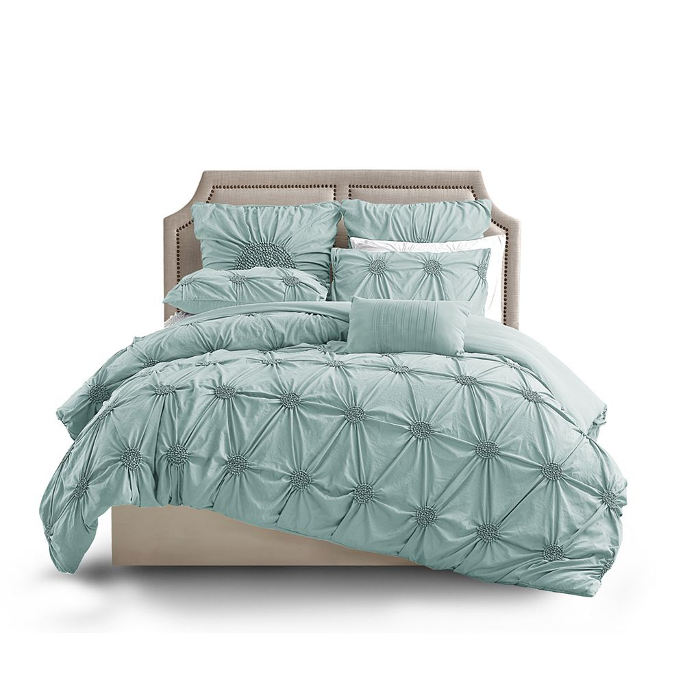 CHC Floral Ruched Duvet Cover PLBLUE K