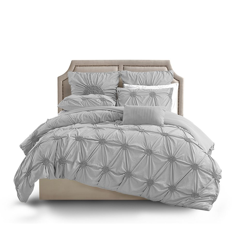 CHC Floral Ruched Duvet Cover LTGRAY FQ