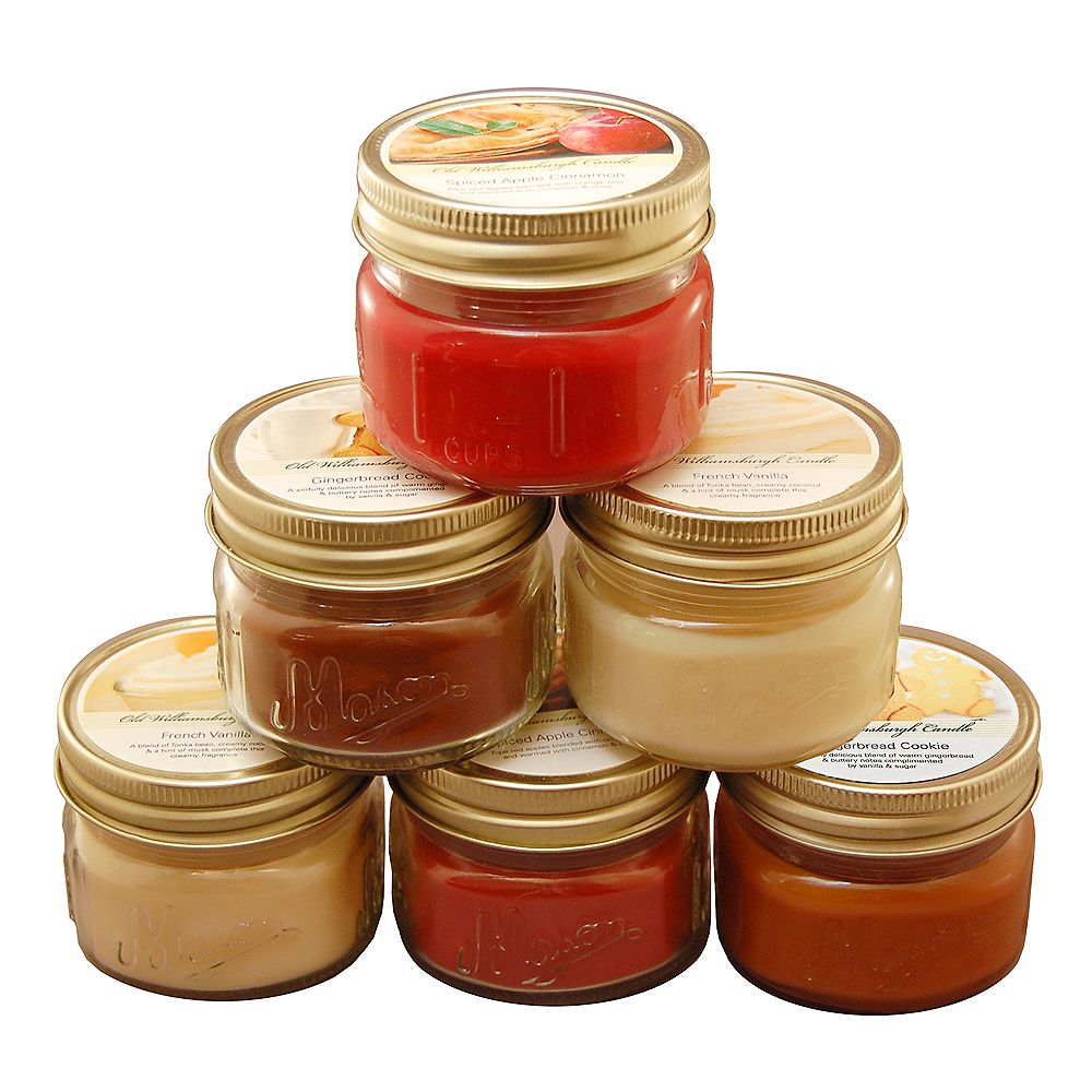 LumaBase Scented Candles- Holiday Collection in 3oz Glass Mason Jars (set of 6)