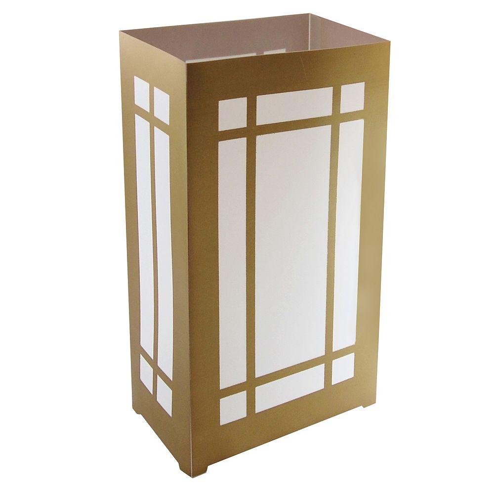LumaBase Plastic Luminaria Lanterns- Gold Lantern (10 count)