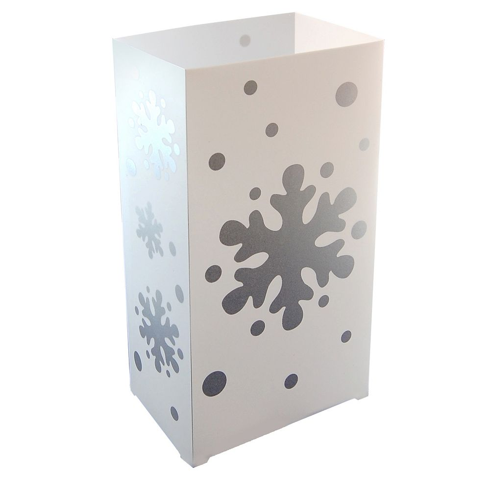 LumaBase Plastic Luminaria Lanterns- Snowflake (10 count)