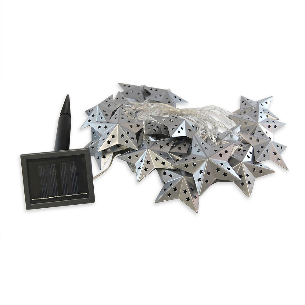 LumaBase Solar String Lights with 20 Metal Silver Stars