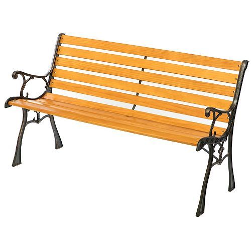 Gardenised Wooden Outdoor Park Patio Garden Yard Bench with Designed Steel Armrest and Legs
