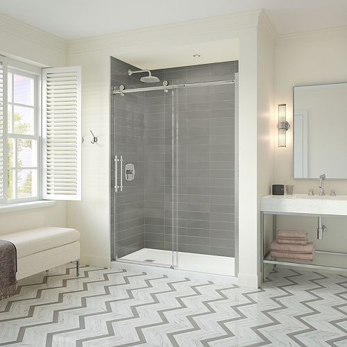 Odyssey SC 32 x 60 x 78 in. Frameless Sliding Shower Kit w/ Left Drain Base & Door in Chrome