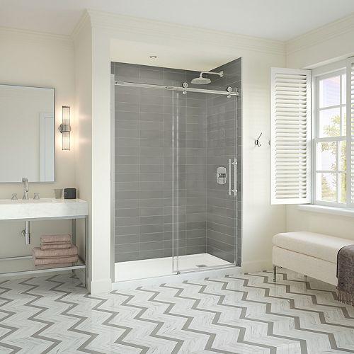 Odyssey SC 32 x 60 x 78 in. Frameless Sliding Shower Kit w/ Left Drain Base & Door in Brushed Nicel