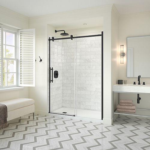 Utile Metro 32 x 60 x 83.5 in. Right Drain Shower Kit in Carrara w/ Odyssey Door in Brushed Nickel