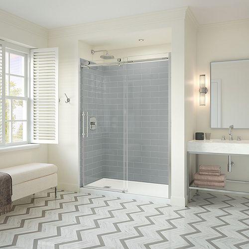 Utile Metro 32 x 60 x 83.5 in. Left Drain Shower Kit in Ash Grey w/ Odyssey Door in Chrome