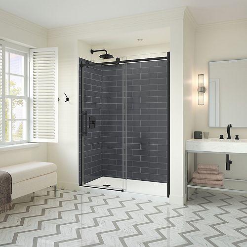 Utile Metro 32 x 60 x 83.5 in. Right Drain Shower Kit in Thunder Grey w/ Odyssey Door in Brush Nikel
