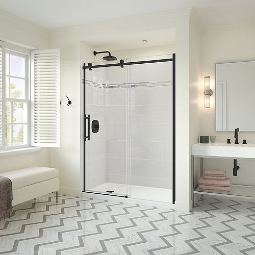 Utile Metro 32 x 60 x 83.5 in. Right Drain Shower Kit in Origin Arctik w/ Odyssey Door, Brush Nickel