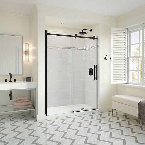 Utile Metro 32 x 60 x 83.5 in. Right Drain Shower Kit in Origin Arctik w/ Odyssey Door, Matte Black