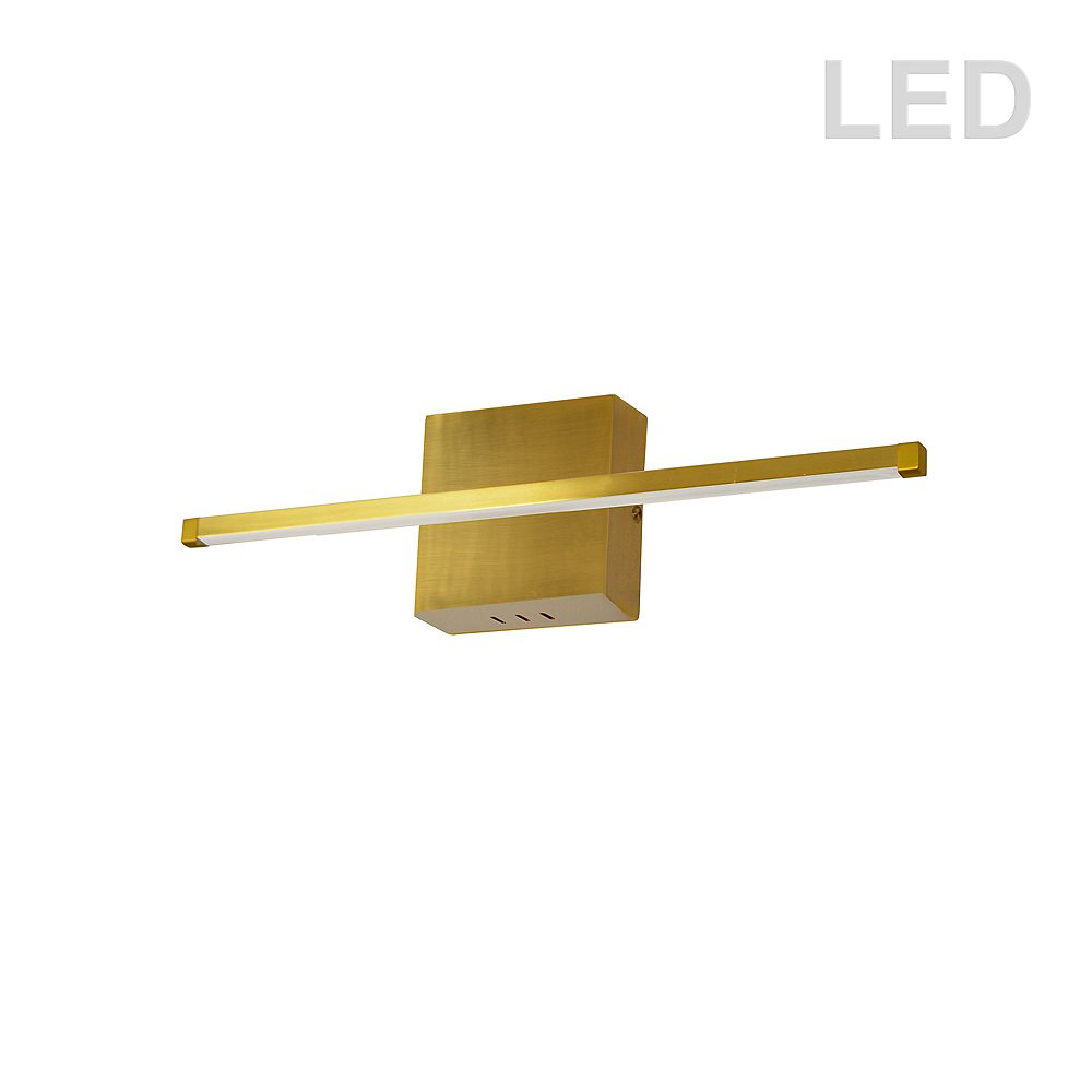 Dainolite 19W LED Wall Sconce, Aged Brass with White Acrylic Diffuser. 24.5 Inches