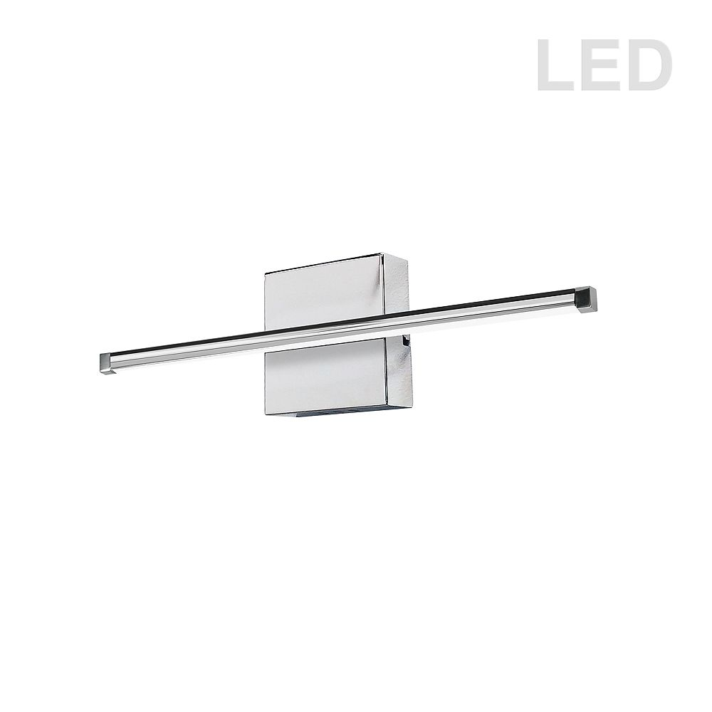 Dainolite 19W LED Wall Sconce, Polished Chrome with White Acrylic Diffuser. 24.5 Inches