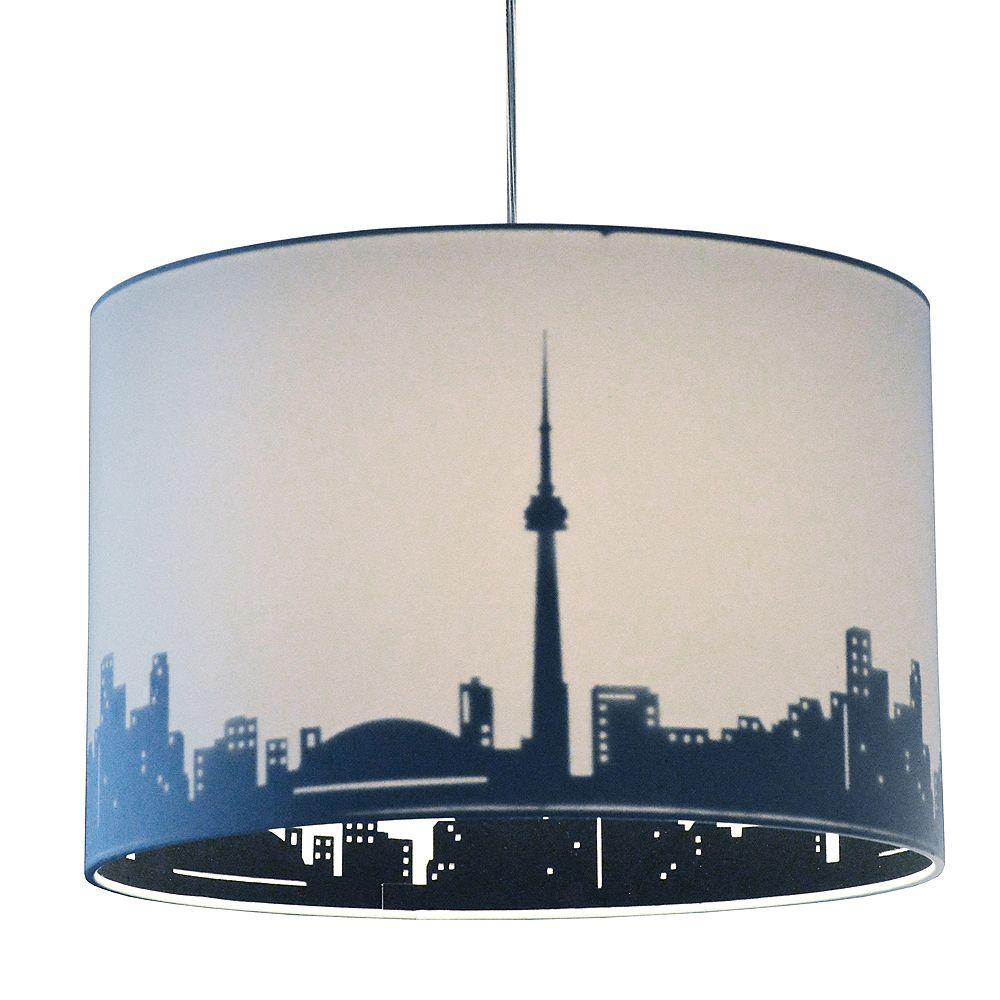 Dainolite 1 Light Incandescent Pendant White and Black, Polished Chrome. 15 Inches Toronto