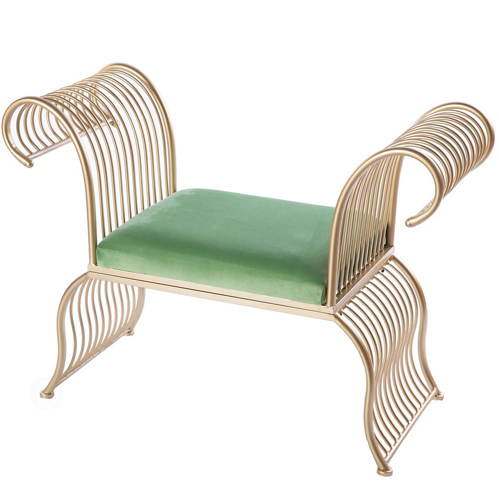 Bold Tones Gold Metal Accent Armchair with Green Velvet Seat