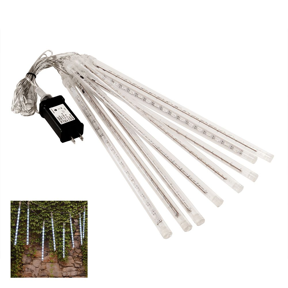 LumaBase Electric LED Meteor Lights with 8 White Light Tubes
