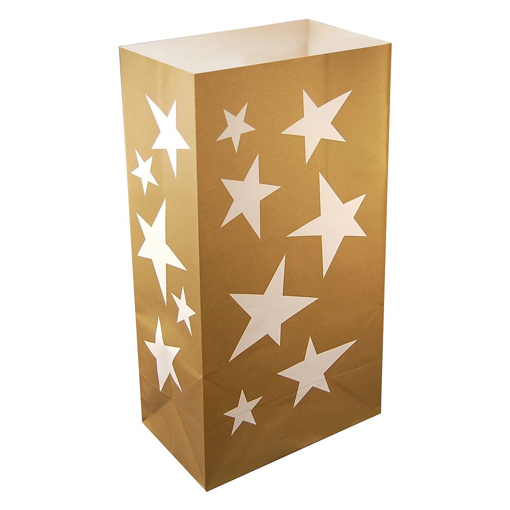 LumaBase Paper Luminaria Bags- Gold Star (24 count)