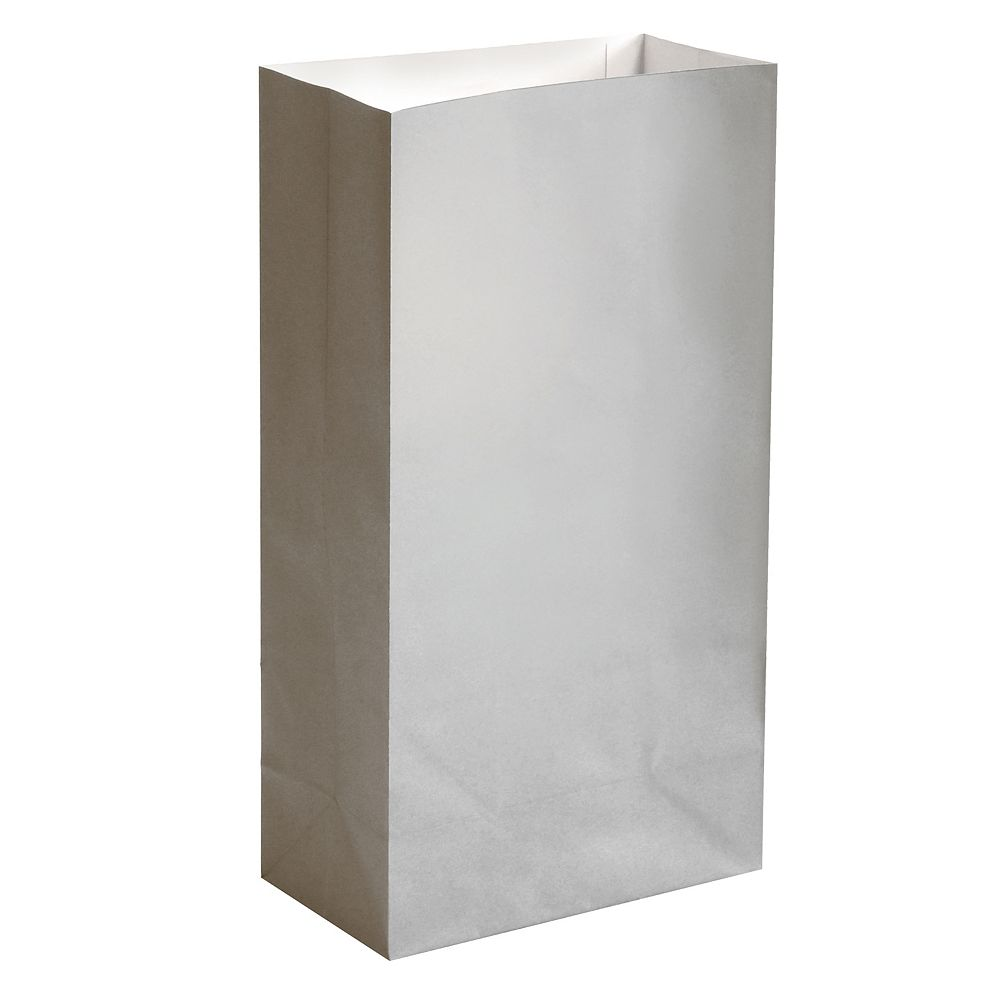 LumaBase Paper Luminaria Bags- Silver (24 count)