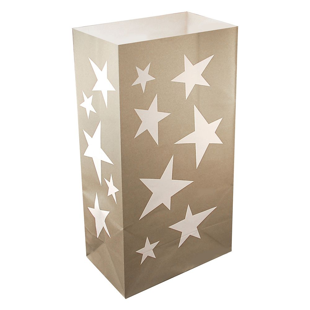 LumaBase Paper Luminaria Bags- Silver Stars (24 count)