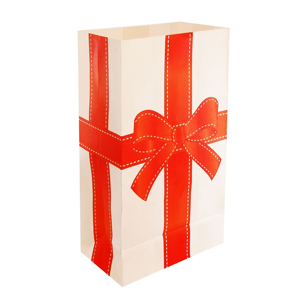 LumaBase Paper Luminaria Bags - Holiday Present (24 count)