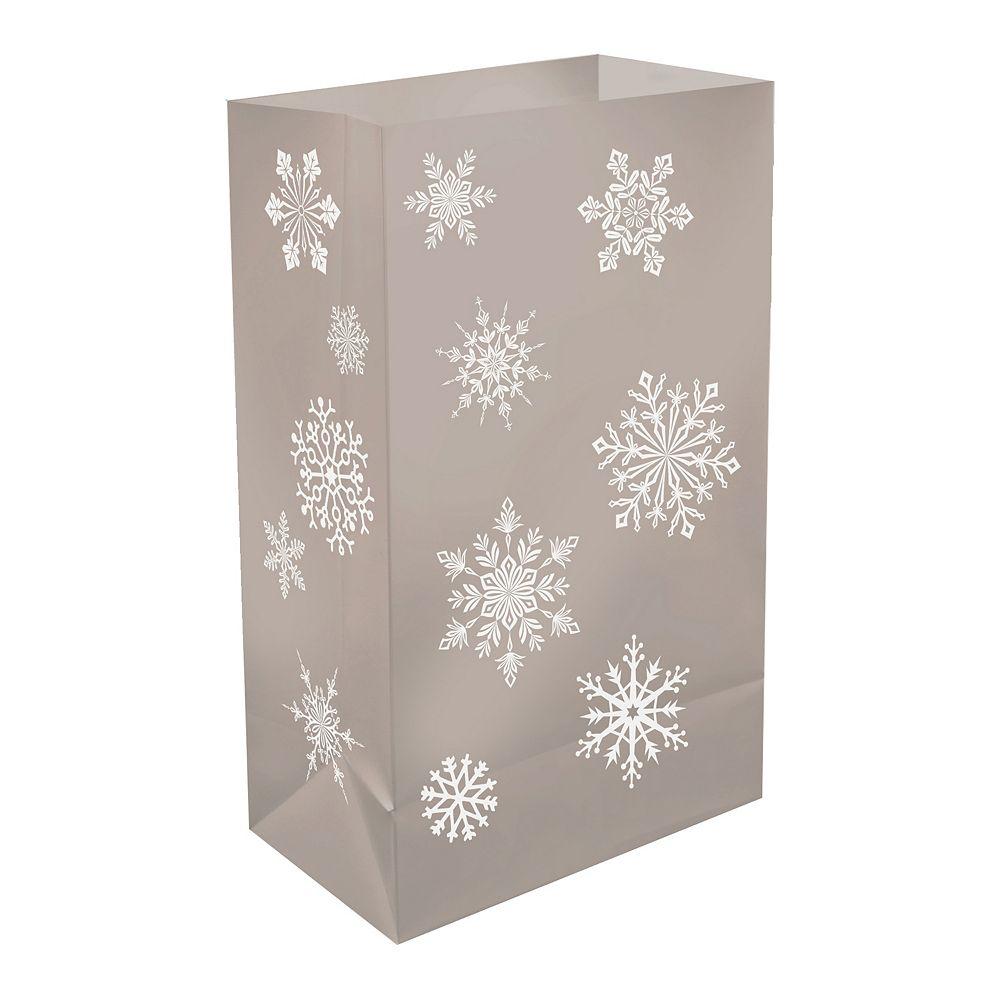 LumaBase Plastic Luminaria Bags- Silver Snowflake (12 count)