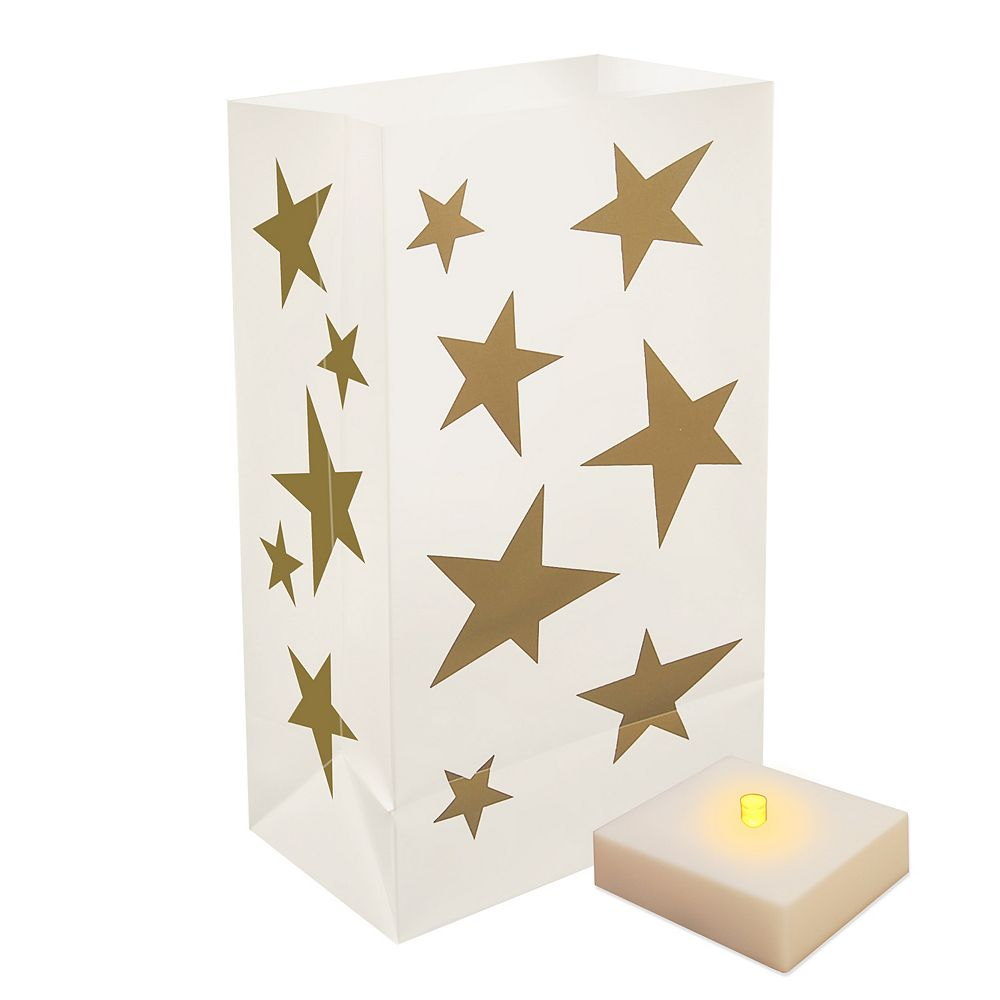 Duralife Battery Operated Luminaria Kit with Timer- Star (6 count)