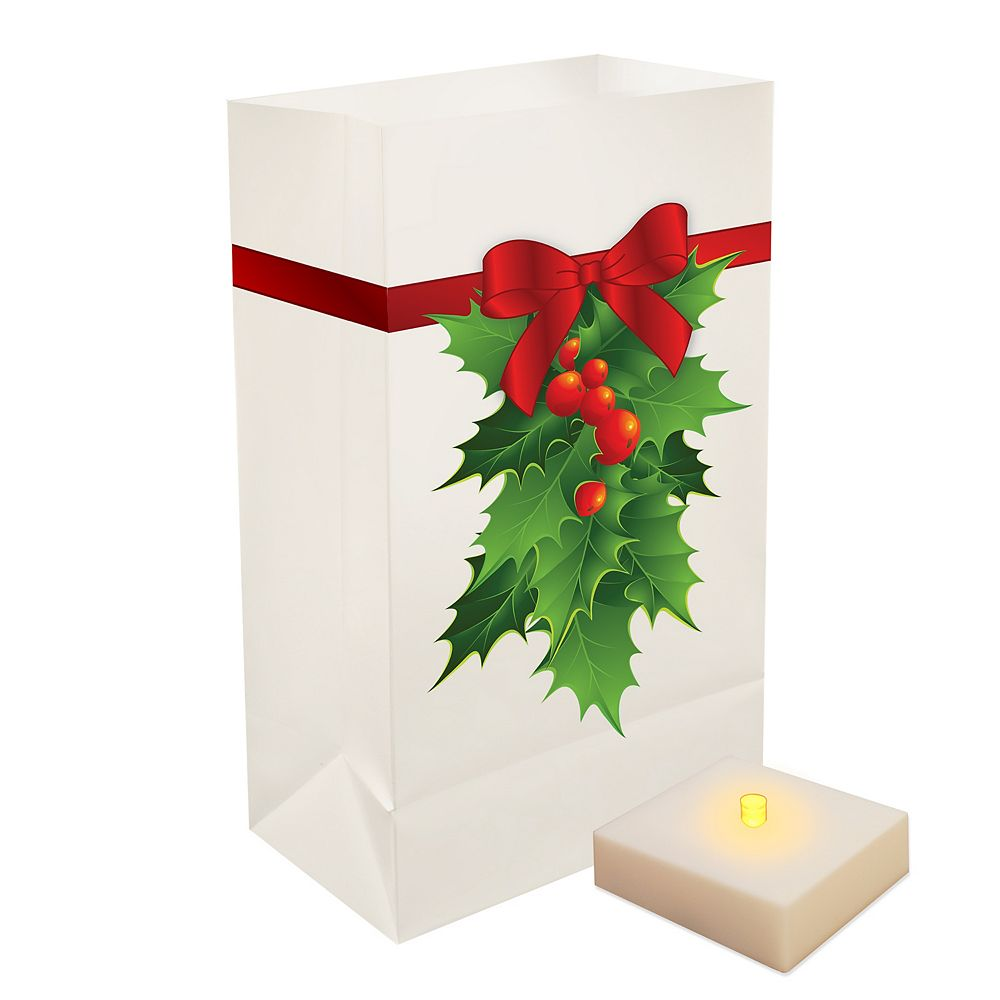 Duralife Battery Operated Luminaria Kit with Timer- Holly (6 count)