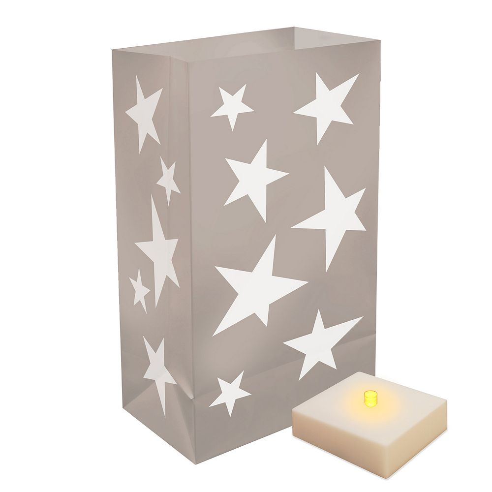 Duralife Battery Operated Luminaria Kit with Timer- Silver Stars (6 count)