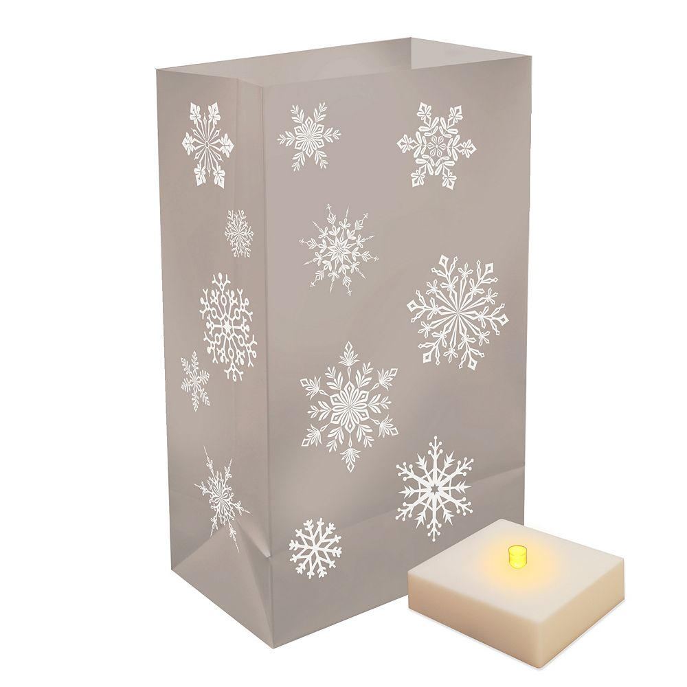 Duralife Battery Operated Luminaria Kit with Timer- Silver Snowflake (6 count)