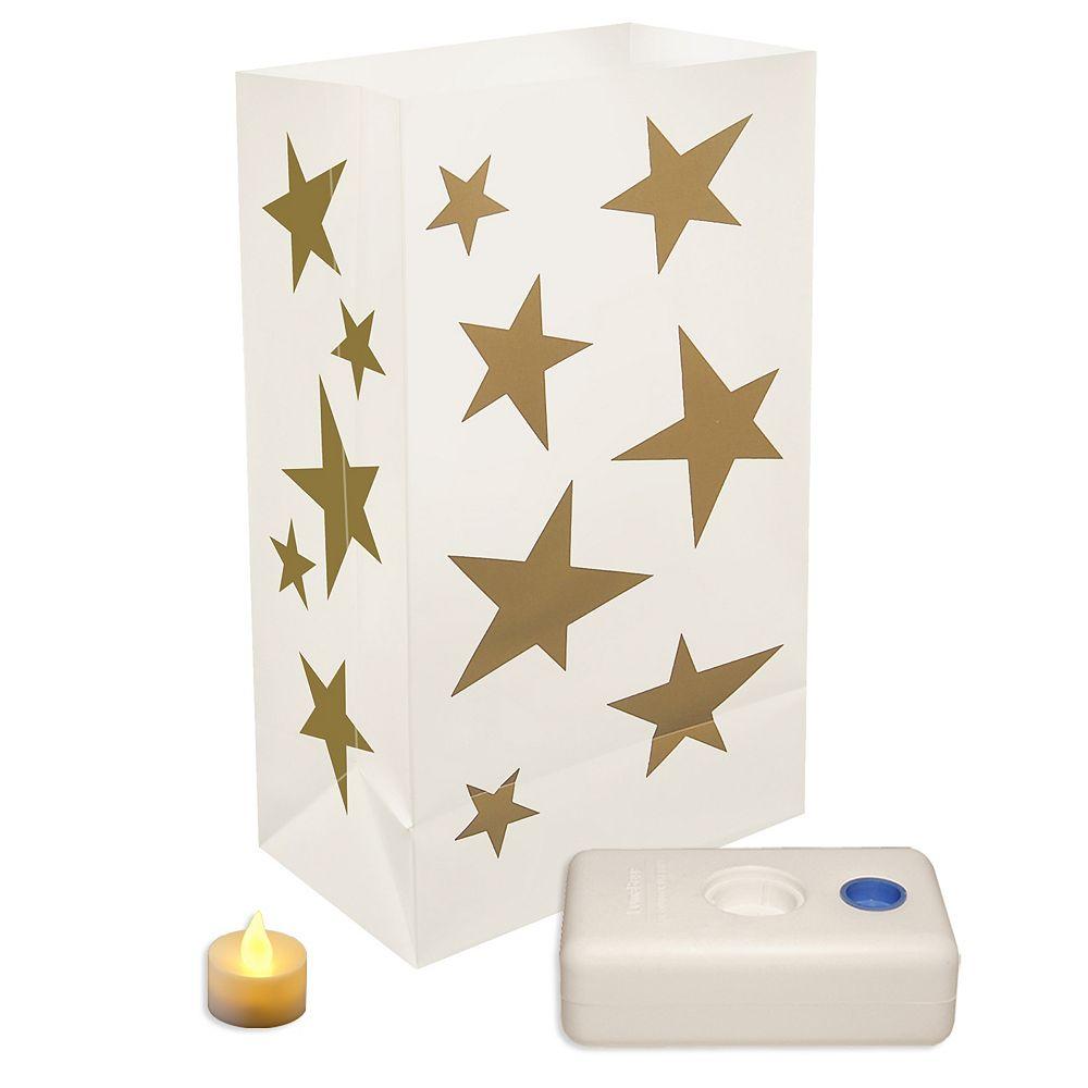Duralife Battery Operated LED Luminaria Kit- Stars (12 count)