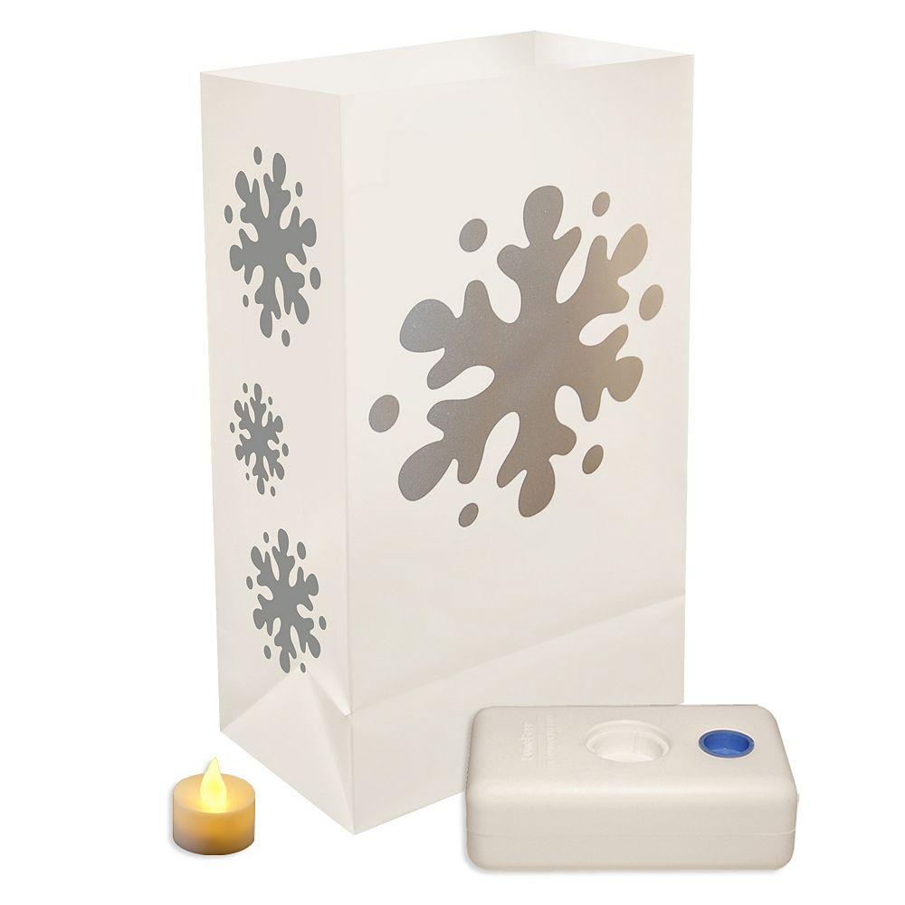 Duralife Battery Operated LED Luminaria Kit- Snowflake (12 count)
