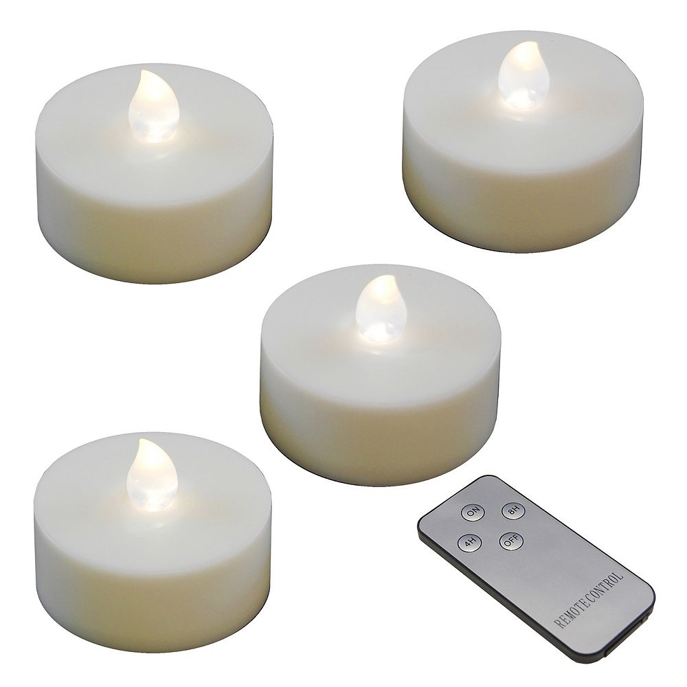 Duralife Extra Large Battery Operated Tea Lights with Remote Control- White (4 count)
