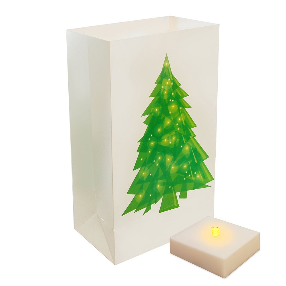 Duralife Battery Operated Luminaria Kit with Timer- Holiday Tree (6 count)