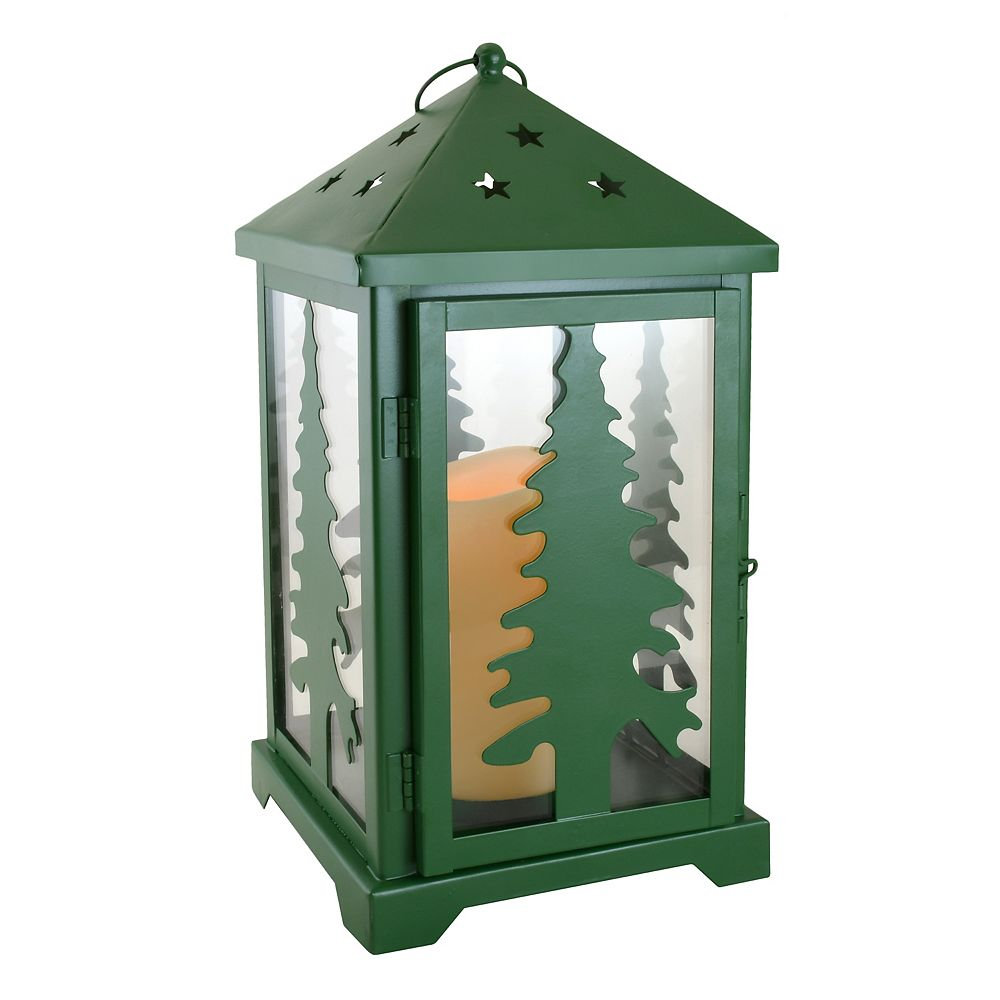 Duralife Metal Lantern with Battery Operated Candle- Green Pine Tree