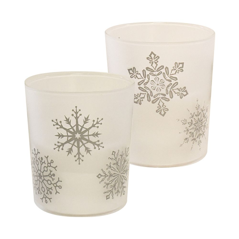 Duralife Battery Operated Glass LED Candles- Snowflake (set of 2)