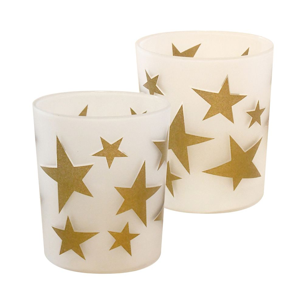 Duralife Battery Operated Glass LED Candles-  Gold Star (set of 2)