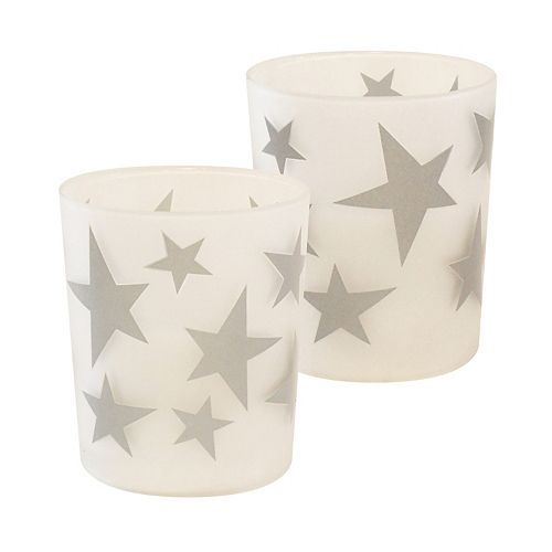 Duralife Battery Operated Glass LED Candles- Silver Star (set of 2)