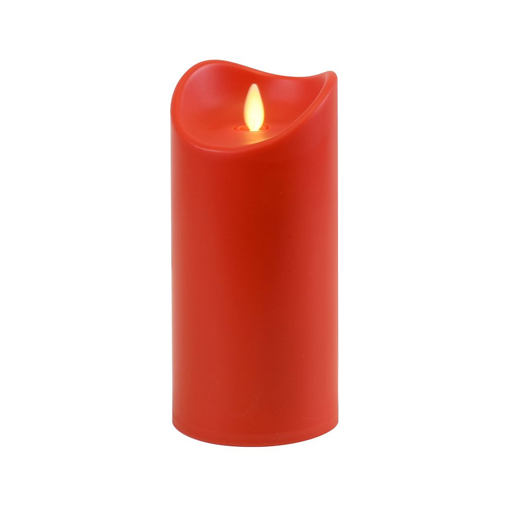 """Duralife Battery Operated 7"""" Red Pillar Candle with Moving Flame"""