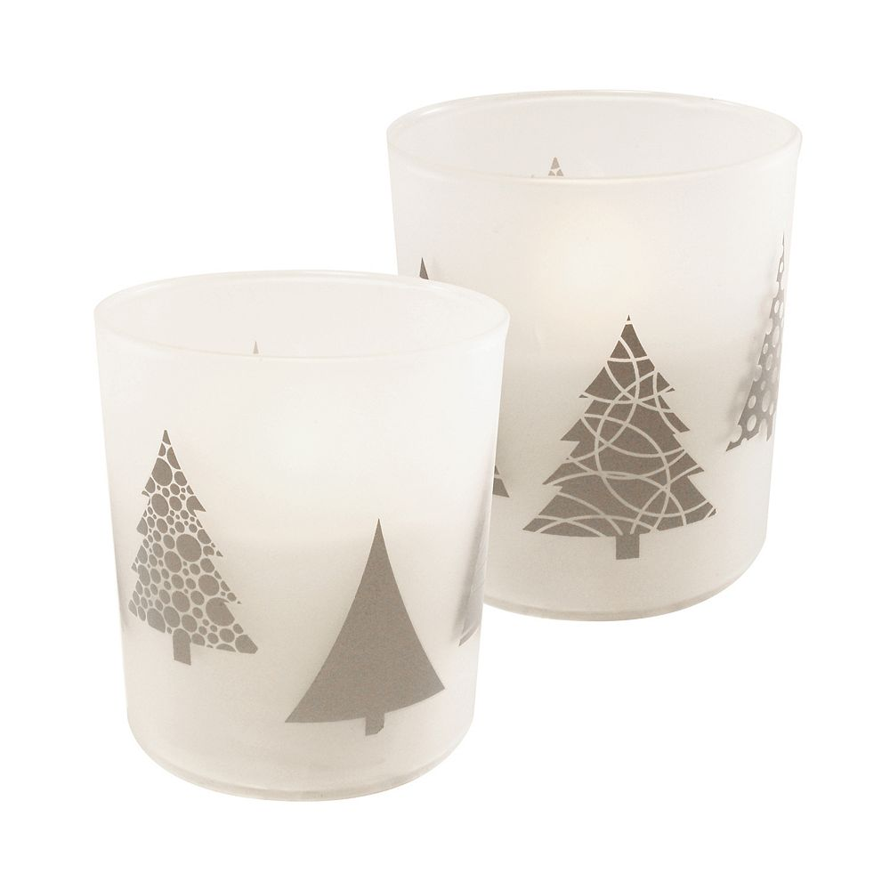 Duralife Battery Operated Glass LED Candles - Christmas Trees (set of 2)