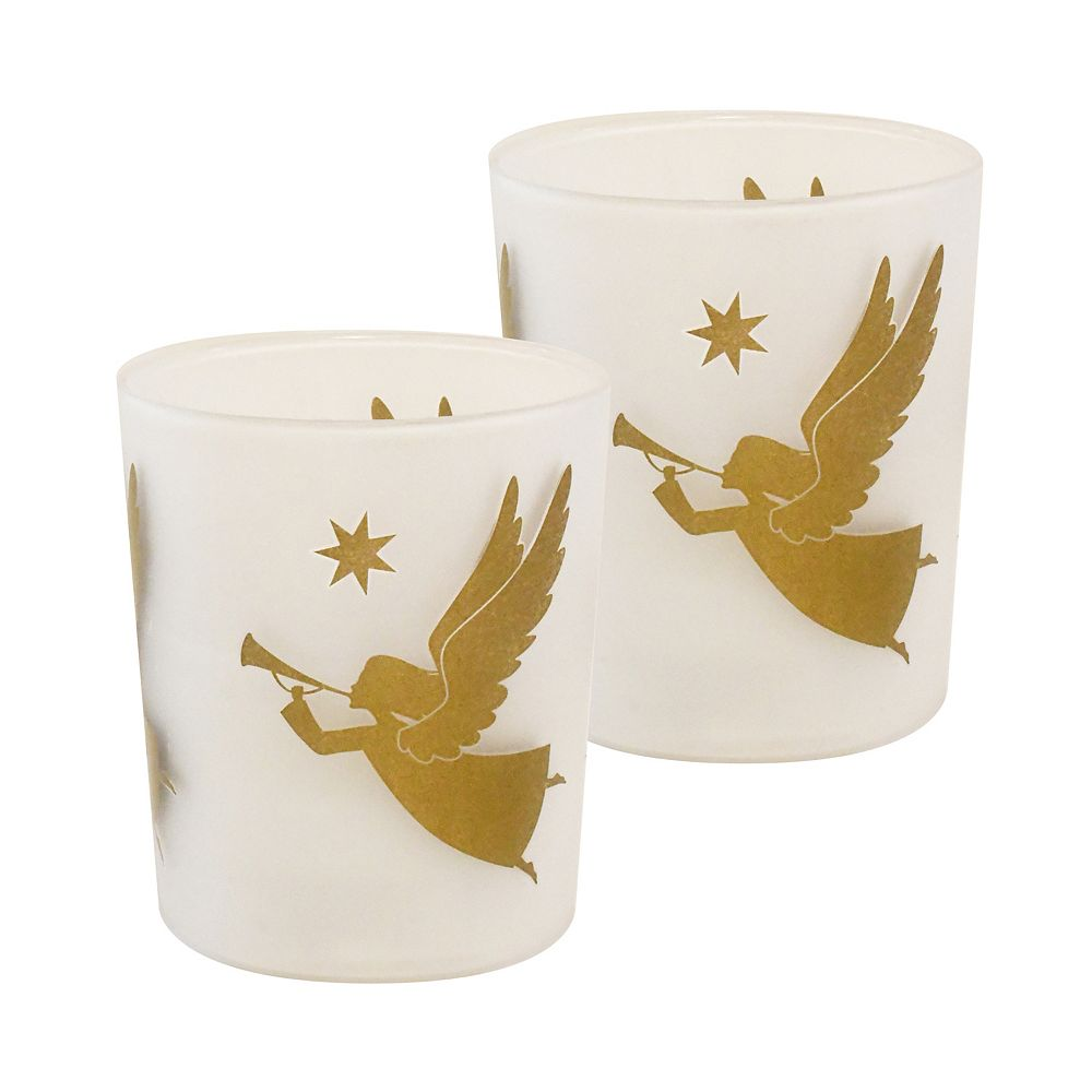 Duralife Battery Operated Glass LED Candles - Gold Angels (set of 2)