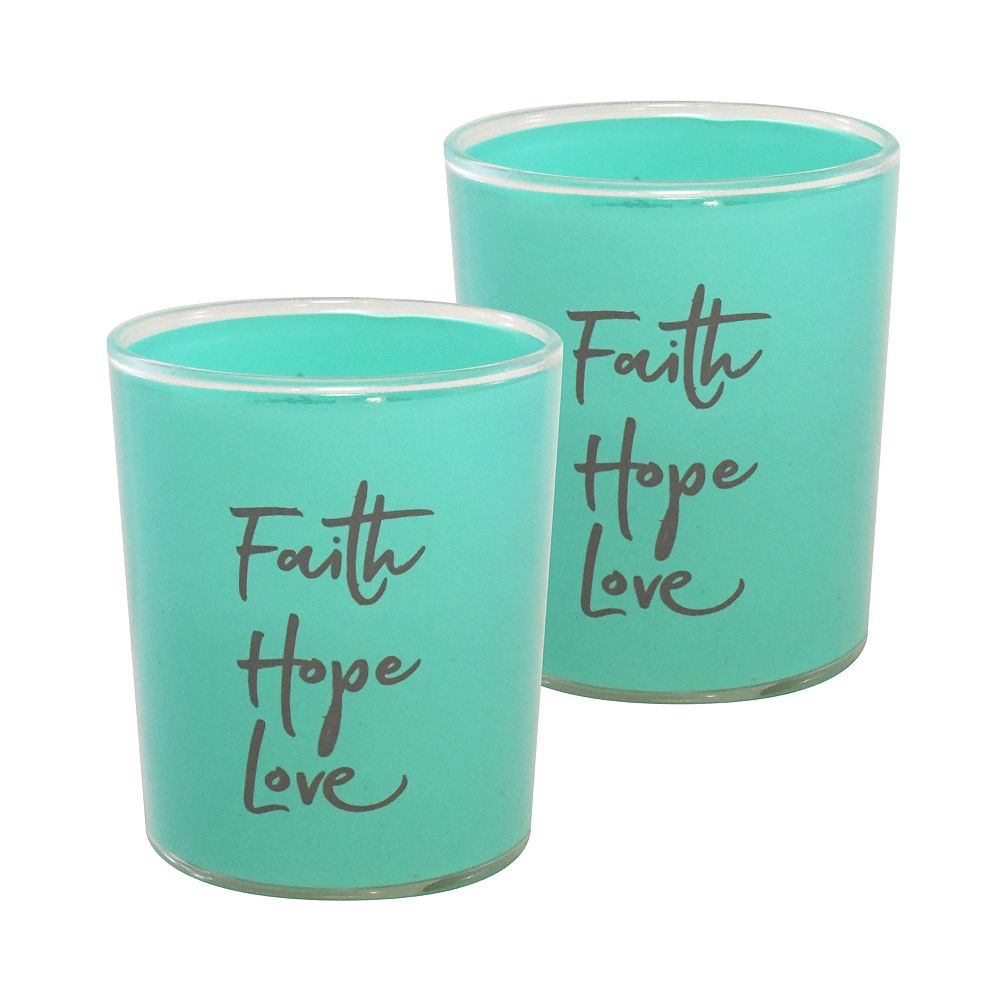 CC Home Furnishings Battery Operated Glass LED Candles - Faith Hope Love (set of 2)